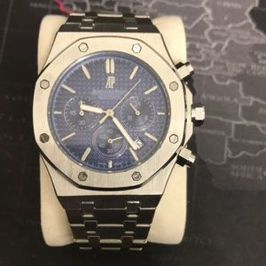 Mens AP watch chronograph date blue